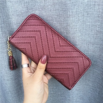 Ulzzang Shishang female Japanese and Korean style big capacity clutch bag New style women's wallet (Red Wine)