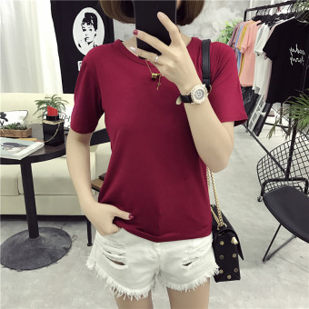 Ulzzang solid color female New style Slim fit Short sleeve Top T-shirt (Wine red color)