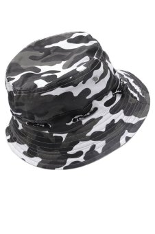 Unisex Adults Canvas Sun Protection Bucket Hat Cap Camouflage