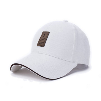 Unisex Fashion Baseball Cap Sports Golf Snapback Solid Hats For MenBone( white)