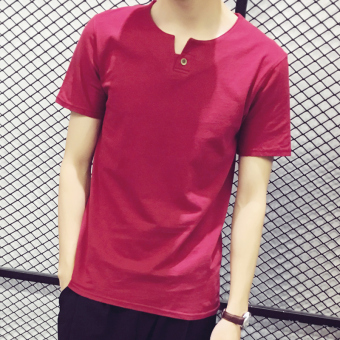 Versatile cotton v-neck Slim fit bottoming shirt Top (A buckle wine red color)