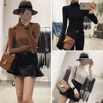 Versatile in early spring New style piles collar T-shirt long-sleeved shirt bottoming (Black) (Black)