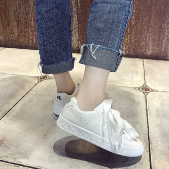 Versatile ribbon summer female breathable shoes white shoes (White) (White)