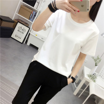 Wild solid color round neck Women's Plus-sized bottoming shirt Korean-style short-sleeved t-shirt