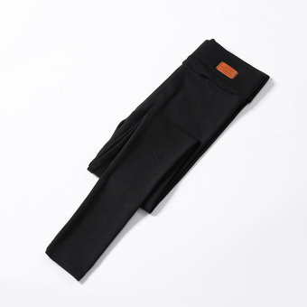 Women's Fleece-lined Thick Stretch High Waist Cropped Slim Fit Pants Color Varies (Black)