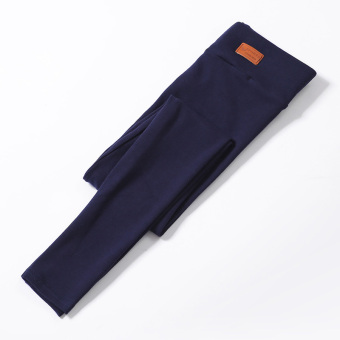 Women's Fleece-lined Thick Stretch High Waist Cropped Slim Fit Pants Color Varies (Dark blue color)