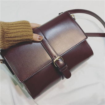 Women's Korean-style Casual Crossbody Shoulder Bag (Red wine)