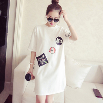 Women's Korean-style casual loose-fitting short-sleeve mid-long t-shirt