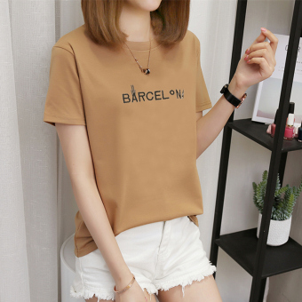 Women's Korean-style Plus Size Slimming Short Sleeve T-Shirt (378-BA embroidered-khaki color)