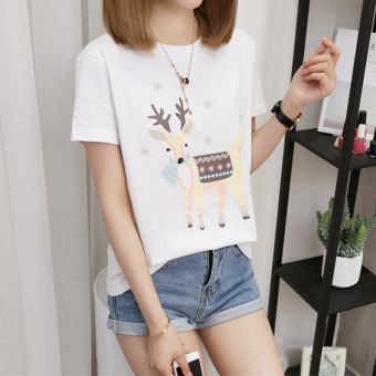 Women's Korean-style Plus Size Slimming Short Sleeve T-Shirt (386 Titoni deer-white)
