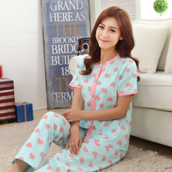 Women's Large-size Short Sleeve Pure Cotton Pajamas Set (Short-sleeved blue love)
