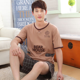 Women's Large-size Short Sleeve Short Pants Pure Cotton Pajamas Set ([Short] Brown Bear men)