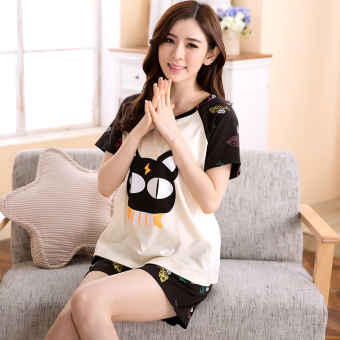 Women's Large-size Short Sleeve Short Pants Pure Cotton Pajamas Set (Short-sleeved cat fish female [cotton])