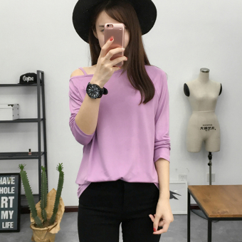 Women's Revealing Sling Cut Off Shoulder Boat Neck Long Sleeve Solid Color T-Shirt (3001 6 deep purple)