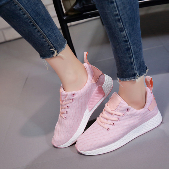 Yoga exercise shoes 2017 New style Korean-style breathable casual flat mesh shoes couple sports shoes women running shoes (Pink color)