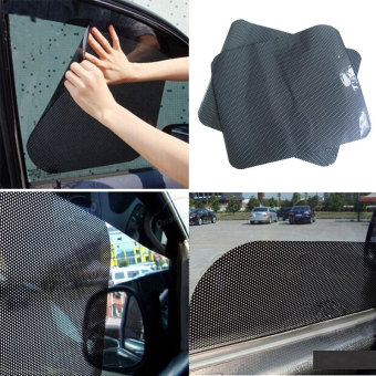 2Pcs Car Window Side Sun Shade Cover Block Static Cling ShieldScreen Black