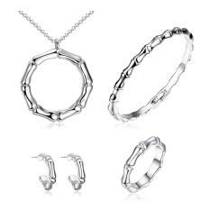 360DSC Platinum Plated Bamboo Necklace Earrings Ring Bracelet Women Fashion Jewelry 4Pcs Set AKS013 - intl