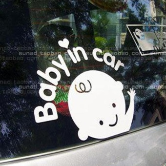 Baby In Car Waving Baby on Board Safety Sign Car Decal / Sticker -intl