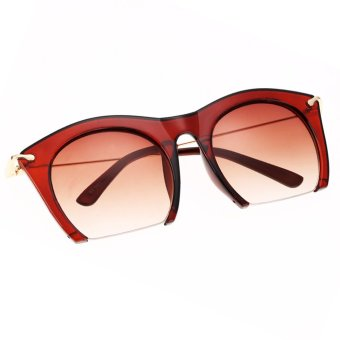 Cyber Korean Women Retro Sunglasses Large Half-frame Sun ...