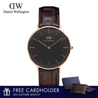 Daniel Wellington Classic Black York 36mm Watch with Free Cardholder