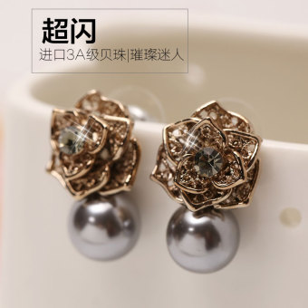 Day Korean-style jewelry retro Cool minimalist European and American exaggerated Rose Flower gilt original earrings female temperament Korean earrings
