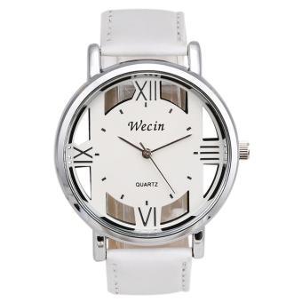 Fashion Luxury Men's Leather Strap Analog Quartz Sports Wrist Watch Watches White - intl