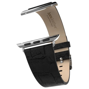 For Apple Watch 42MM Genuine Leather Watch Band Strap With BuckleBlack - intl
