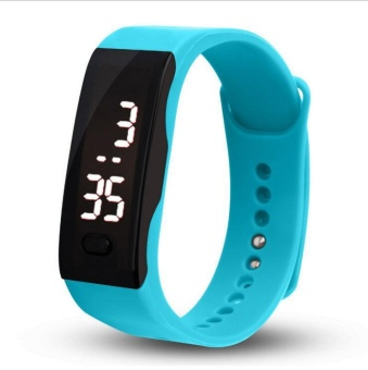 Gel Rubber Bracelet Red LED Digital Display Unisex Sports Watch - intl