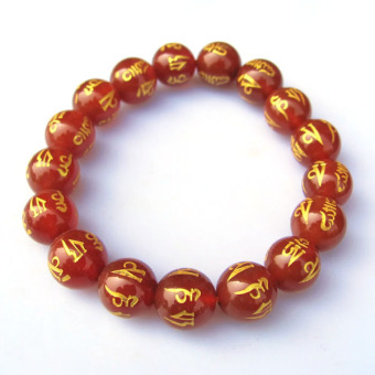Men female models natural red agate Ming Dynasty mantra physicalmap bracelet