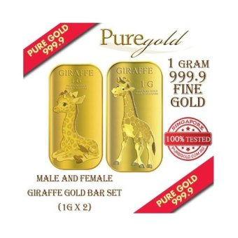Puregold Male and Female Giraffe Gold Bar 1g Set of 2.