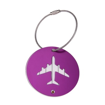 Round Aluminum Alloy Luggage Suitcase Tag Label with Strap Travel Accessory(Purple) - intl