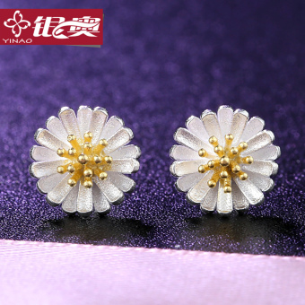 S925 silver earrings female Pearl mother of gold daisy fresh ear jewelry temperament female Japan and South Korea Cool minimalist temperament