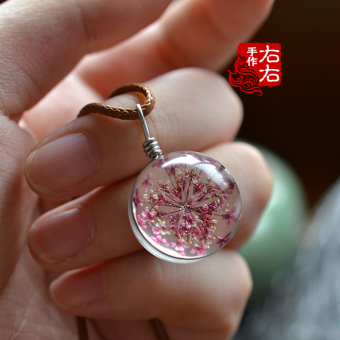 Small art fan the Dandelion dried flowers Time Glass transparentsmall ball leather cord necklace
