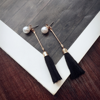Taimi style Korean jewelry black and white two-tone long Liu Suzhen beads Japan and South Korea temperament earrings pendant female