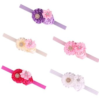 lff 5 pieces hair clasp baby girls rose rhinestone buckle