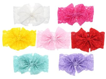lff baby hair hoops headbands girls 7 pieces lace bowknot