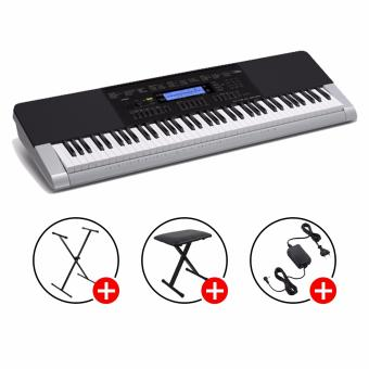 Harga CASIO PROMO! Casio Standard Keyboard WK-240 (Black and Silver) with Casio CS-2X Stand & X-Bench