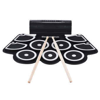 Portable Electronic Roll Up Drum Pad Set 9 Silicon Pads Built-in Speakers with Drumsticks Foot Pedals USB 3.5mm Audio Cable - intl