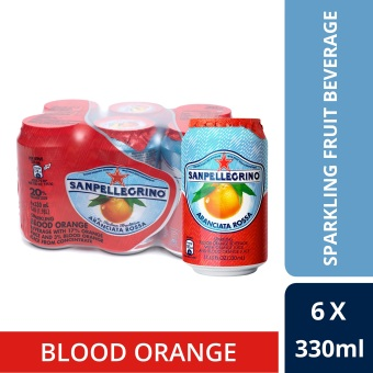 San Pellegrino Sparkling Fruit Beverage, Aranciata Rossa (Blood Orange), 330ml Cans (Pack Of 6)