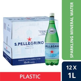 San Pellegrino Sparkling Natural Mineral Water, 1L Plastic Bottle (Case Of 12)