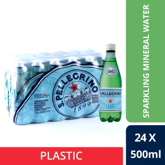 San Pellegrino Sparkling Natural Mineral Water, 500ml Plastic Bottle (Pack Of 24)