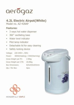 Harga Aerogaz AZ-429AP Electric Air Pot 4.2L