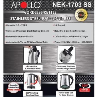 APOLLO NEK-1703SS Cordless Electric Kettle 1.7L - 2
