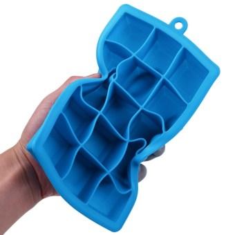 Creative DIY Big Silicone Ice Tray Mold Square Shape Sky Blue - 2