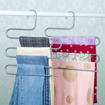 Hanging pants the hanger dormitory with pants rack multi-layer does not rust steel student home S-shaped pants folder pants hanger wholesale 20