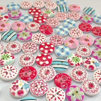 Moonar 100Pcs/ 2 Holes Mixed Printing Round Pattern Wood Buttons Scrapbooking 15mm - intl