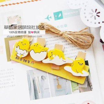 Harga Cute lazy egg decorative photo clip small clip photo wall cartoon wooden clip with hemp rope