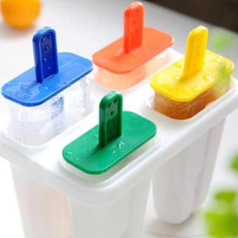Harga DIY 4 Cell Ice Cream Ice Pop Freezer Maker Popsicle Icy Pole Mold Tray - intl