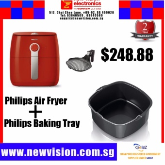 Harga Philips HD9623 Air Fryer in Red (Free Philips Original Grill Pan) & Philips Baking Tray HD9925