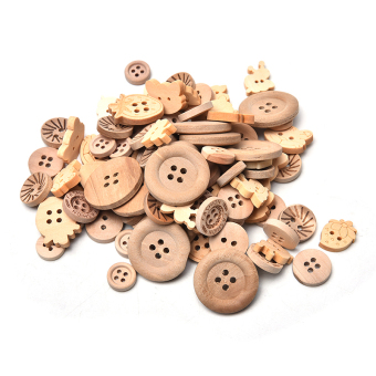 100pcs/lot Mix Shape 2/4 Holes Natural Color Wooden Pattern Wood Sewing Buttons - intl